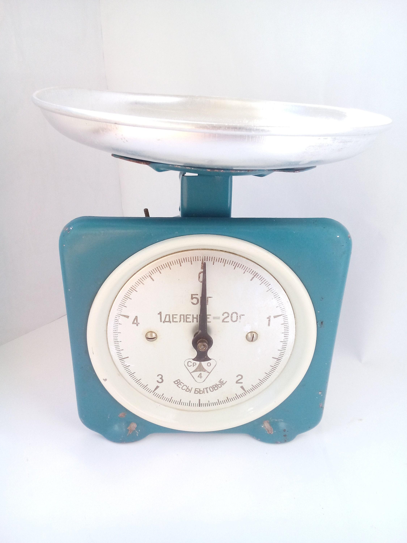 Vintage kitchen scale of blue color Mid century balance