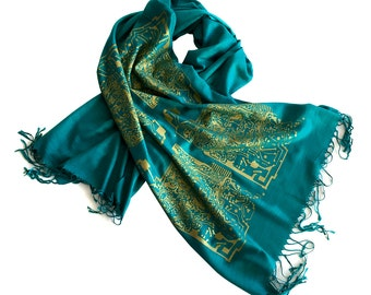 Circuit Board Pashmina Scarf. Computer science, coder, tech gift. For men or women. Linen weave pashmina. Teal & gold and more!