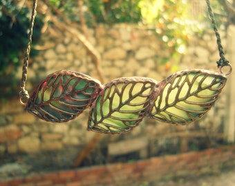 Leaf Stained Glass Necklace - Statement Necklace - Olive Green Leaf Necklace, nature jewelry, leaves necklace