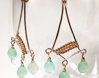 Blue chalcedony two-tone chandelier earrings - wirewrapped earrings