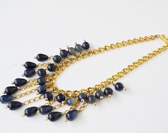 Necklace chain necklace, gold chain necklace and blue drops