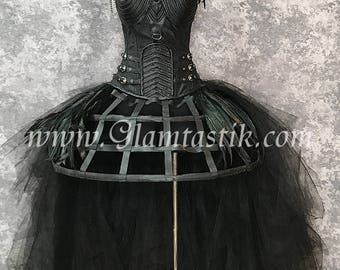 custom size black raven crow caged high low black feather burlesque corset costume dress with feather shoulder piece S-XL