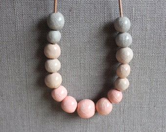 ETSY LOOKBOOK, Handmade ceramic necklace, fading pink, cream and gray beaded necklace