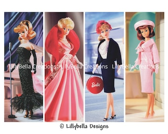 "Vintage Barbie ~ 12 Layered Digital Art Bookmarks ~  2.5"" x 7"""