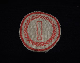 Exclamation Point Punctuation Handmade Hand Embroidered Sew On Patch Free Shipping Red Tan Embroidery Exclaim Excitement Happy Enthusiasm