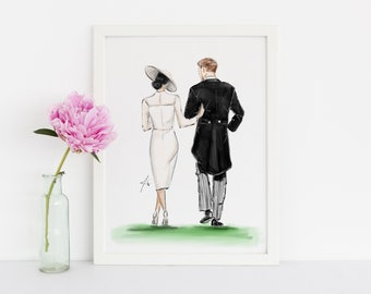 The Royal Walk (Fashion Illustration Print- Home Decor - Wall Decor- The Royal Wedding- Meghan Markle - Prince Harry)