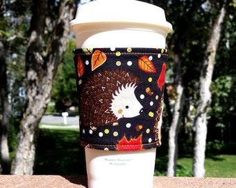 Fabric coffee cozy / cup holder / coffee sleeve / coffee cup holder / beverage holder / beverage sleeve -- Happy Hedgehogs