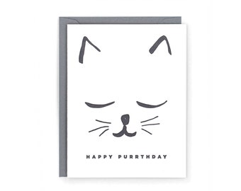 Happy Purrthday Letterpress Card
