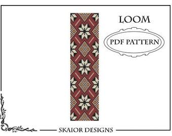 Loom Bead Pattern Flower Square Stitch Pattern Tribal Loom Beading Pattern Flourish Seed Beads Beading Pattern Geometric Red Bead Weaving
