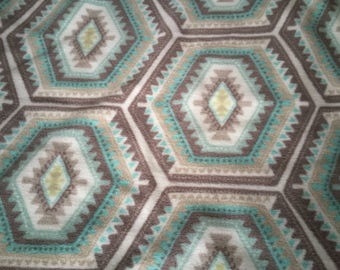 Teal Geometric Pattern Baby Blanket