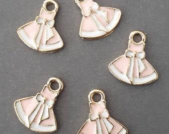 10pcs-enamel pink skirt Charm -You pick the color