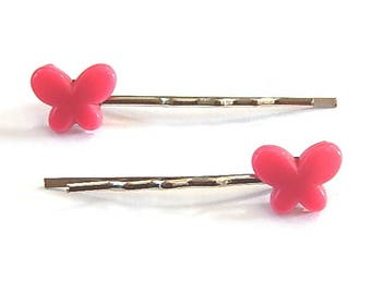 2 hair pins Bobby child or adult (butterfly) pink)