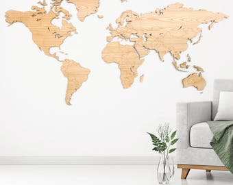 Wall art decoration world map large 6mm corrugated cardboard 200cm x 100cm
