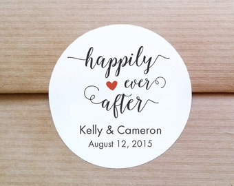Custom Wedding Labels - Happily Ever After stickers - Engagement party labels - Thank You stickers - Personalized Round Stickers (L-04)