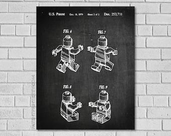 Legoman Patent Print, Lego Poster, Lego Patent, Lego Blueprint, Lego Art, Lego Print, Lego Decor, Lego Artwork, Lego Decor, Patent ET711-2