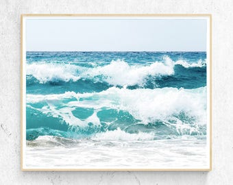 Ocean Water Print, Beach Decor Wall Art, Waves, Large Poster, Turquoise, Modern Minimalist Photography, Instant Printable Digital Download