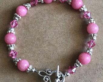 Pink Swarovski and Glass Bracelet