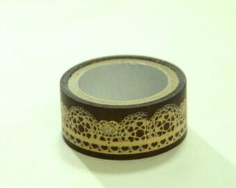 Japanese Washi Masking Tape Roll- Brown White Lace Motif