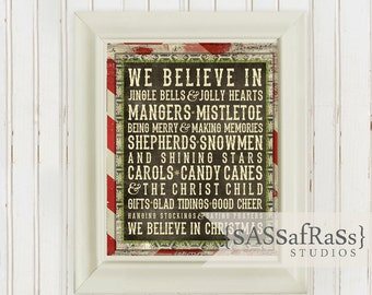 We Believe In Christmas--8x10 Printable Poster, Instant Download, Typography Poster, Christmas Poster, Christmas Print