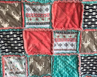 Rag quilt-baby bedding-Baby girl rag quilt-woodland rag quilt-pink and teal rag quilt