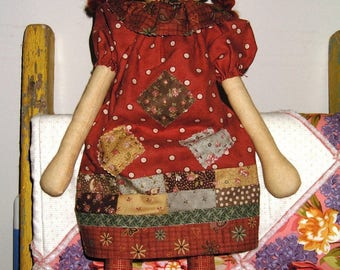 Cloth Doll handmade Raggedy Patch