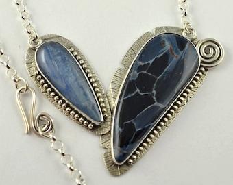 Blue Stone Necklace - Metalsmith Neckalce - Oxidized Necklace - Artisan Jewelry