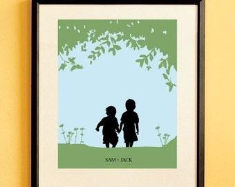Kinder Silhouette Kunstdruck, Kinder Kinderzimmer Zimmer Dekor, Name Print, benutzerdefinierte Wand hängen - Walk with Me