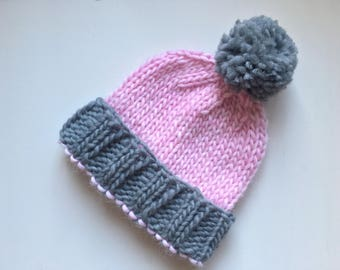 Hand - Knitted Hat, Pom Pom, Grey and Pink, Super Chunky, 100% Virgin Wool, Autumn/Winter Hat, Adult Sized Hat