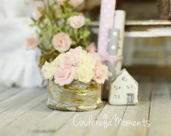 Pink And White Shabby Chic Roses in Galvenized Finish Container