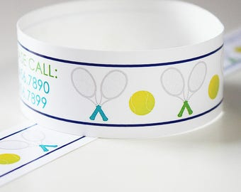 Custom Vinyl Tennis Racket ID Bracelets - Personalized ID Bands - #Kids #Travel #Safety #Medical