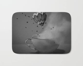 Bath Mat -  Hot Air Balloon - Tea Cup - Fantasy Bathroom Mat -  Made to Order