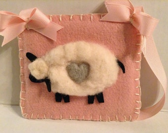 Sheep Needle Felted Wall Hanging