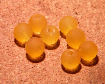 20 beads-frosted - glass effect frosted 8 mm - orange light-PE161-4