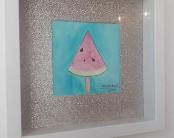 Original  Watercolor & Ink Watermelon Illustration