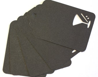 10 Black Extra Large Textured Cardstock Gift Tags with Martini Glass cut outs - 3 inch tags