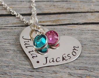 Hand Stamped Jewelry - Personalized Jewelry - Mom Necklace - Sterling Silver Heart Necklace - Two names two birthstones