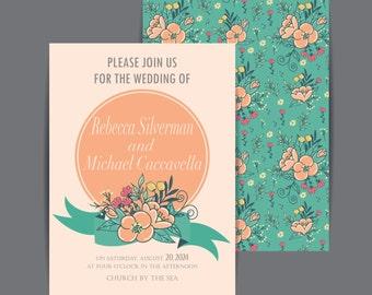 Wedding Invitations Floral Bliss- set of 25 printed invitations.