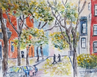 Original watercolor, Brooklyn Heights, trees and flowers