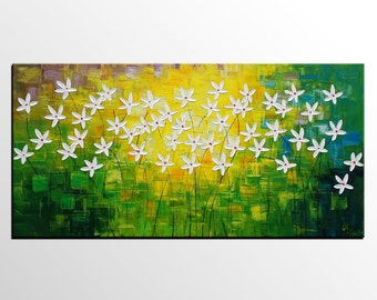 Flower Painting, Canvas Wall Art, Abstract Painting, Large Abstract Art, Living Room Wall Art, Large Wall Art, Abstract Art, Large Art
