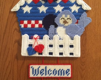 Patriotic Birdhouse Welcome Wall / Door Hanging, ready made, hand sewn on plastic canvas