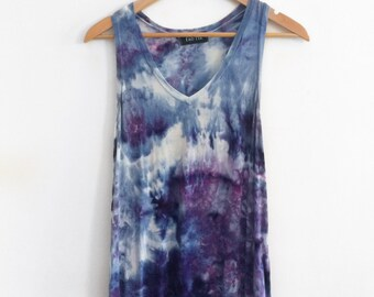 Tie Dye Top, Custom Top, Tie Dye Shirt, Blue Shirt, Purple Top, Tie Dye Blouse, Tie Dye Tank, Hand Dyed, Hippie Clothing, Womens Tee