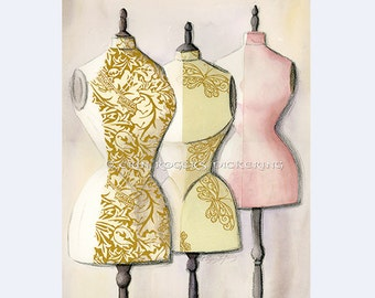 Wallflowers 3 Dress forms with rice paper, Art Print 8x10