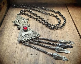 Vintage Turkoman Teke Silver Pendant Necklace on Rolo Chain Tribal Necklace, Gypsy Jewelry Amulet Necklace