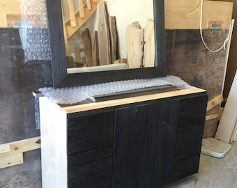 Bathroom Vanity Cabinet Reclaimed Barnwood Face (custom charcoal finish shown)