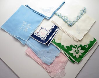Lot of 8 Vintage Colored Tatted & Embroidered Hankies / Handkerchiefs