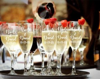 Set of 2, Wedding Gift, Wedding, Engraved, Custom, Personalized Gift, Newlyweds, Engagement, Bridal Shower, Toasting Flutes, Champagne