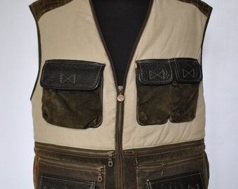 Vintage CAMEL COLLECTION AUTHENTIC tradition canvas and leather hunter vest ....(013)