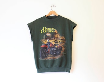 Vintage Harley Davidson Cut Off Sweatshirt