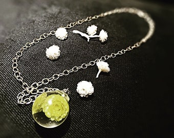 Flower necklace, real flower jewellery, Gift for her