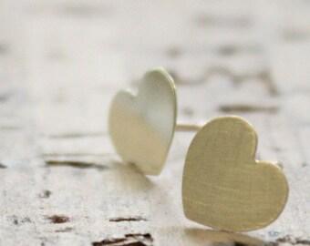 Gold Heart Studs, Gold Heart Earrings, Everyday Earrings, Tiny Heart Earrings, gold, gold dainty heart earrings,9K